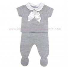 MC401G: Baby Grey Knitted 2 Piece Outfit With Bow (0-9 Months)