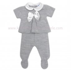 MC402G: Baby Grey Knitted 2 Piece Outfit With Bow (0-9 Months)