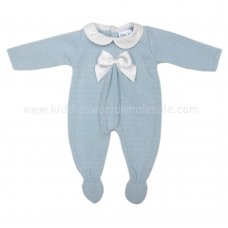 MC403B: Baby Sky Knitted All In One With Bow (0-9 Months)