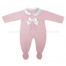 MC403P: Baby Pink Knitted All In One With Bow (0-9 Months)
