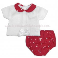 MC406: Baby Girls 2 Piece Floral Outfit With Bow (0-9 Months)