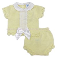 MC413L: Baby Lemon Knitted 2 Piece Outfit With Bow (0-9 Months)