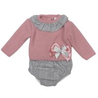 MC600DP: Baby Dusky Pink Knitted 2 Piece Outfit (0-12 Months)