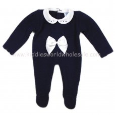 MC606N: Baby Navy Knitted All In One (0-12 Months)