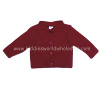 MC632BD: Baby Bordeaux Knitted Cardigan (0-12 Months)