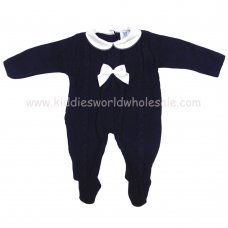 MC618N: Baby Navy Knitted All In One (0-12 Months)
