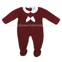 MC618BD: Baby Bordeaux Knitted All In One (0-12 Months)