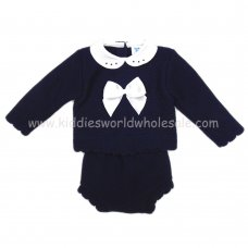 MC605N: Baby Navy Knitted 2 Piece Outfit (0-12 Months)
