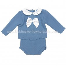 MC605PT: Baby Petrol Blue Knitted 2 Piece Outfit (3-6 Months)