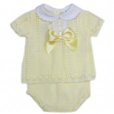 MC706-Lemon: Baby Bow & Lace Knitted 2 Piece Set (0-9 Months)