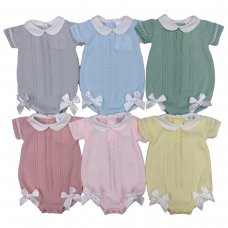 MC730-Sky: Baby Double Bow Knitted Romper (0-9 Months)