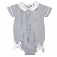 MC730-Grey: Baby Double Bow Knitted Romper (0-9 Months)