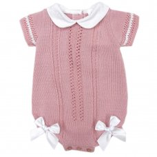MC730-Dusky Pink: Baby Double Bow Knitted Romper (0-9 Months)