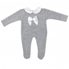 MC757-Grey: Baby Bow Knitted All In One (0-9 Months)