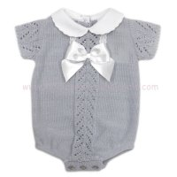 MC420G: Baby Grey Knitted Romper With Bow (0-9 Months)