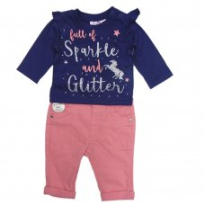 N15752: Baby Girls Unicorn Top & Jeans Outfit (3-12 Months)