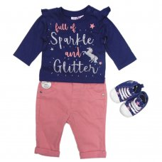 N15752: Baby Girls Unicorn Top, Jeans & Shoes Outfit (0-18 Months)