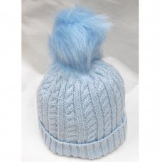 N15835: Sky Cable Knit Hat With Pom Pom (2-4 Years)