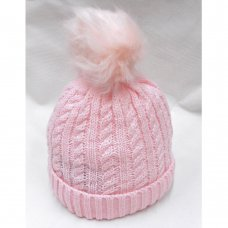 N15836: Pink Cable Knit Hat With Pom Pom (2-4 Years)