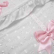 Broderie Anglaise White/Pink Footmuff/Cosytoe With Bows & Lace