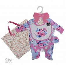 P16302: Baby Girls Floral 6 Piece Net Bag Gift Set (NB-6 Months)