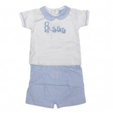 P16366: Baby Boys Short & Polo Top With Embroidery Outfit (0-12 Months, Broken Hangers)