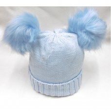 P16585: Sky Plain Knitted Hat With Double Pom Pom (2-4 Years)