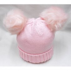 P16586: Pink Plain Knitted Hat With Double Pom Pom (2-4 Years)