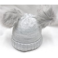 P16587: Grey Plain Knitted Hat With Double Pom Pom (2-4 Years)