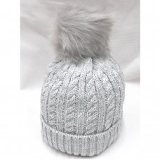 P16588: Grey Cable Knit Hat With Pom Pom (2-4 Years)