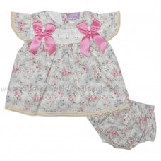 PQ100: Baby Girls Floral Lined Dress & Pant with Lace & Bows (3-12 Months)