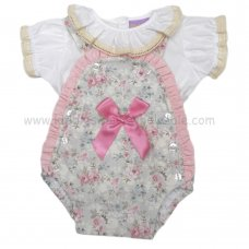 PQ102: Baby Girls Floral 2 Piece Lined Romper Set with Lace & Bows (3-12 Months)