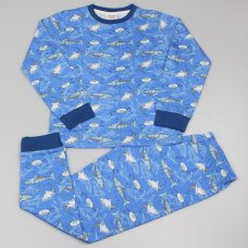 GF6161: Older Boys All Over Print Shark Pyjama (7-12 Years)