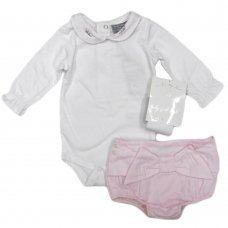 Q17400: Baby Girls Bodysuit With Embroidered Collar, Lined Cotton Pant & Tights Outfit (0-12 Months)