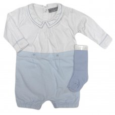 Q17408: Baby Boys Mock 2 Piece Cotton Romper & Long Socks Outfit (0-9 Months)