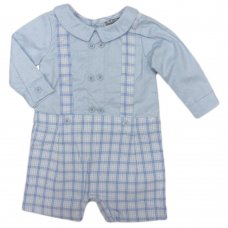 Q17419: Baby Boys Mock 2 Piece Cotton Romper Outfit (0-9 Months)