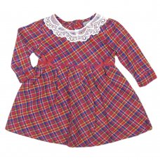 Q17518: Baby Girls Tartan Flannel Dress With Lace & Bows (0-12 Months)