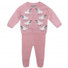Q17522: Baby Girls Knitted 2 Piece Outfit With Sheep Motifs (0-9 Months)