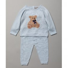 Q17551: Baby Boys Bear Knitted 2 Piece Outfit (6-9 Months)