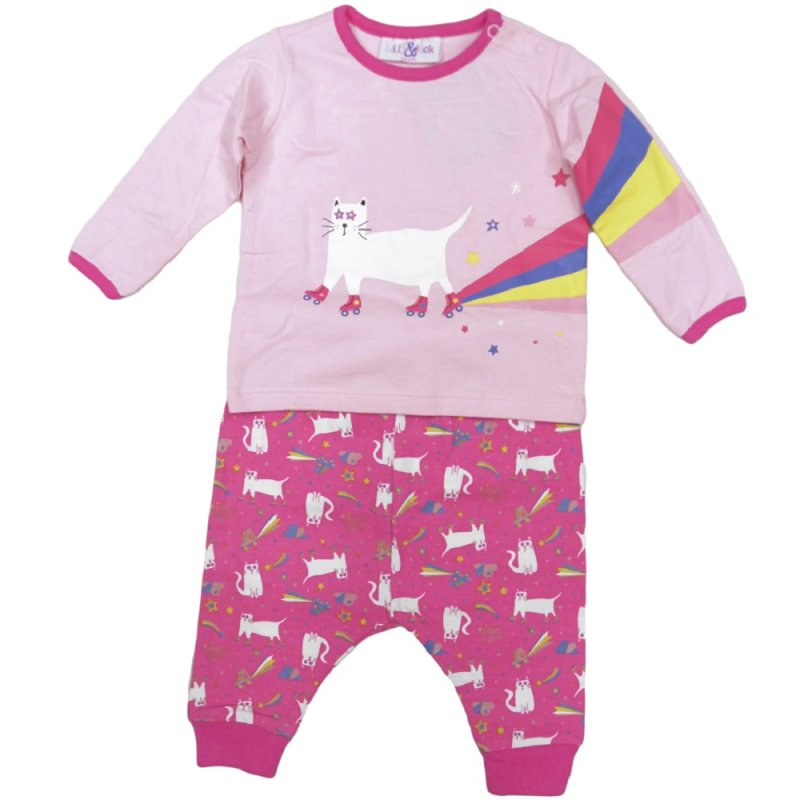 Q17584: Baby Girls Rollerskating Cat Top & Jog Pant Outfit (3-24 Months)