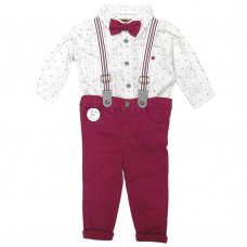 Q17629: Baby Boys Bodysuit Shirt With Bow Tie & Chino Pant With Braces Outfit (3-18 Months)
