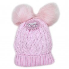 Q17673: Baby Girls Cable Knit, Double Fur Pom Poms Hat (0-24 Months)