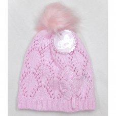 Q17676: Baby Girls Knitted Fur Pom Pom Hat (0-24 Months)