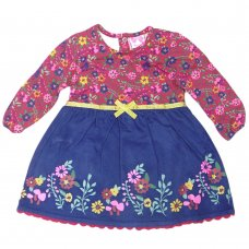 Q17697: Baby Girls Floral Cord Dress (3-24 Months)