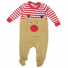 Q17859: Baby Christmas Reindeer Velour All In One (0-9 Months)