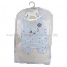 R17953: Baby Boys Nautical 6 Piece Net Bag Gift Set (NB-6 Months)