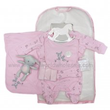 R17954: Baby Girls Bunny 10 Piece Net Bag Gift Set With Soft Toy (NB-6 Months)