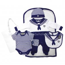 R17977: Baby Boys Sailor 6 Piece Net Bag Gift Set (NB-6 Months)