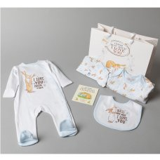R17981: Baby Boys Guess How Much I Love You 7 Piece Mesh Bag Gift Set With Book (NB-6 Months)