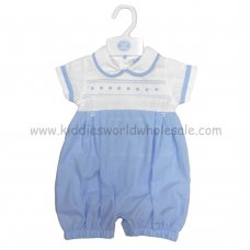 R17983: Baby Boys Romper With Smocking (0-9 Months)